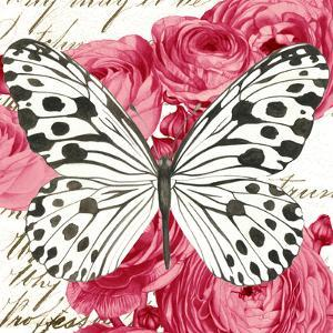 Black And White Butterfly Ranunculus Card by Elizabeth Hellman