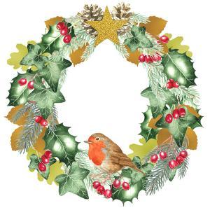 Christmas And Metallic Leaf Wreath by Elizabeth Hellman