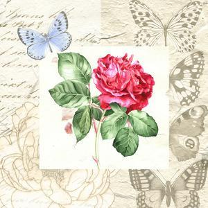 Red Rose With Butterflies by Elizabeth Hellman