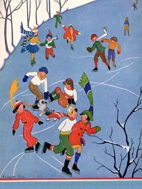Children Ice Skating, 1935 by Elizabeth Jones