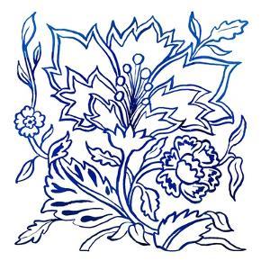 Jodhpur Blues on White II by Elizabeth Medley