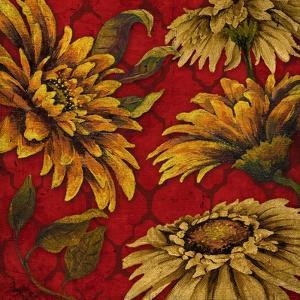 Yellow Floral on Red I by Elizabeth Medley