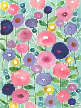 Poppies in Bloom on Aqua Background by Elizabeth Rider