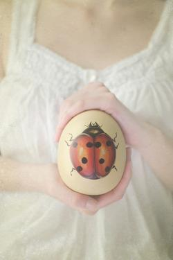 Egg with Ladybug in Woman Hands by Elizabeth Urqhurt