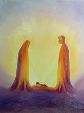 Mary and Joseph Look with Faith on the Child Jesus at His Nativity, 1995 by Elizabeth Wang