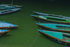 India, Varanasi 9 Blue, Red and Green Rowboats on the Green Water of the Ganges River by Ellen Clark