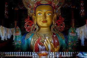 Maitreya Buddha at Thiksey Monastery, Leh, Ledakh, India by Ellen Clark