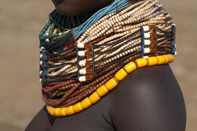 Africa, Ethiopia, Southern Omo Valley, Nyangton Tribe. Detail of a Nyangton woman's necklace.