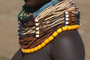 Africa, Ethiopia, Southern Omo Valley, Nyangton Tribe. Detail of a Nyangton woman's necklace. by Ellen Goff