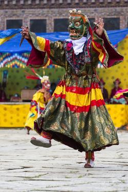 Asia, Bhutan, Gangtey Gonpa Tshechu. Dance of the Furies by Ellen Goff
