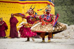 Asia, Bhutan, Haa Tshechu. Dance of the Furies by Ellen Goff