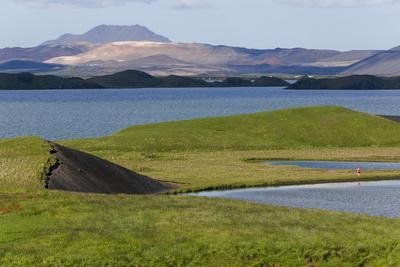 Iceland, Lake Myvatn. Evidence of lava flows around Lake Myvatn.