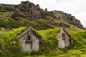 Iceland, Nupsstadur Turf Farmstead. Old homes covered with turf for protection and insulation. by Ellen Goff