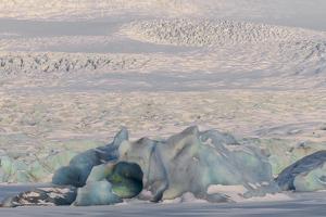 Iceland, Skaftafell National Park, Blue details of Vatnajokull Glacier. by Ellen Goff