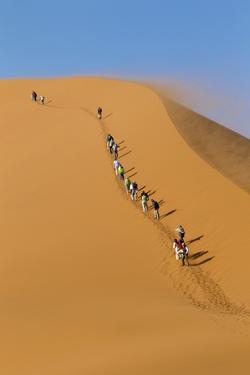 Namibia, Namib-Naukluft National Park, Sossusvlei. Tourists climbing Dune 45. by Ellen Goff