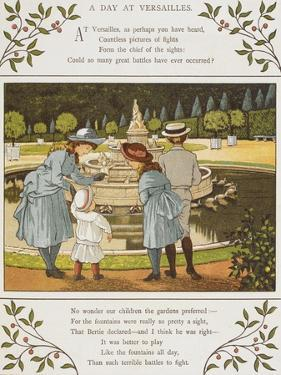 A Day at Versailles. Four Children Looking at a Fountain. Colour Illustration From 'Abroad' by Ellen Houghton