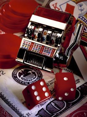 Dice, Slot Machine, Chips and Card on $100 Bill by Ellen Kamp
