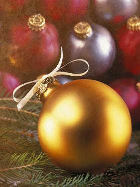 Gold Christmas Ornament with White Ribbon by Ellen Kamp