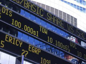 Stock Quotes on Building, Times Square, NYC by Ellen Kamp