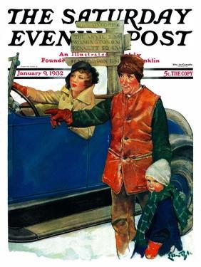 """""""Asking Directions,"""" Saturday Evening Post Cover, January 9, 1932 by Ellen Pyle"""