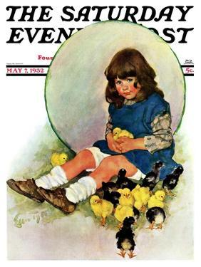 """""""Baby Chicks,"""" Saturday Evening Post Cover, May 7, 1932 by Ellen Pyle"""