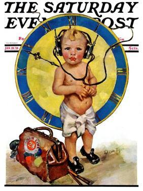 """""""Baby Pilot,"""" Saturday Evening Post Cover, January 28, 1928 by Ellen Pyle"""