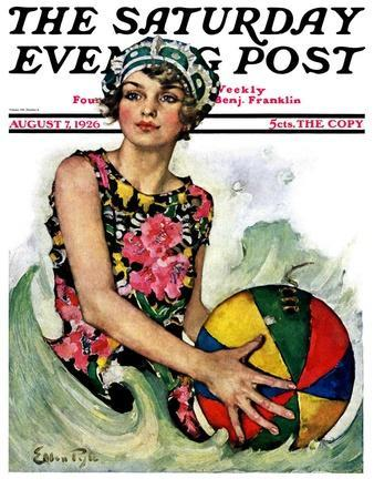 """""""Bathing Beauty and Beach Ball,"""" Saturday Evening Post Cover, August 7, 1926"""