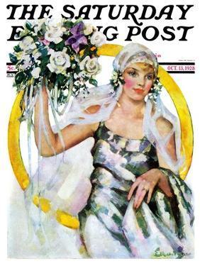 """Bride and Bouquet,"" Saturday Evening Post Cover, October 13, 1928 by Ellen Pyle"