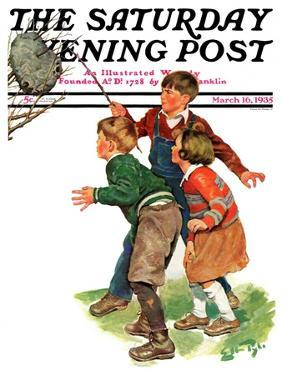 """""""Children and Hornets Nest,"""" Saturday Evening Post Cover, March 16, 1935 by Ellen Pyle"""