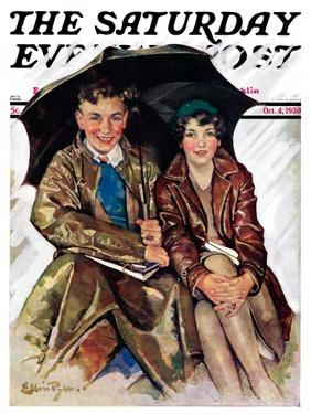 """Couple in Rain,"" Saturday Evening Post Cover, October 4, 1930 by Ellen Pyle"