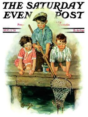 """""""Crabbing,"""" Saturday Evening Post Cover, August 1, 1931 by Ellen Pyle"""