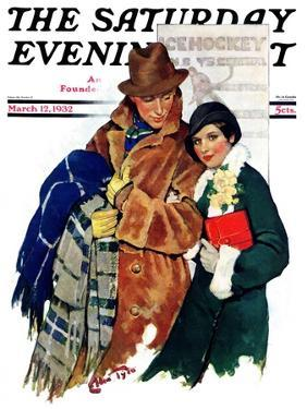 """""""Date at Hockey Game,"""" Saturday Evening Post Cover, March 12, 1932 by Ellen Pyle"""