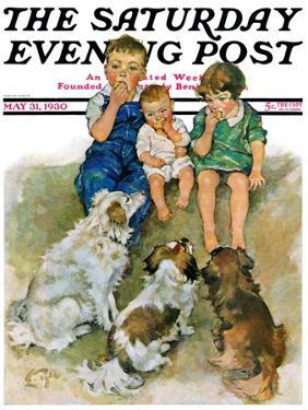 """""""Doggie Beggars,"""" Saturday Evening Post Cover, May 31, 1930 by Ellen Pyle"""