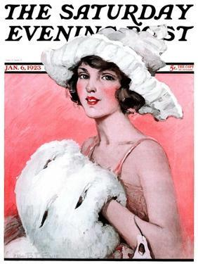 """""""Ermine Muff,"""" Saturday Evening Post Cover, January 6, 1923 by Ellen Pyle"""