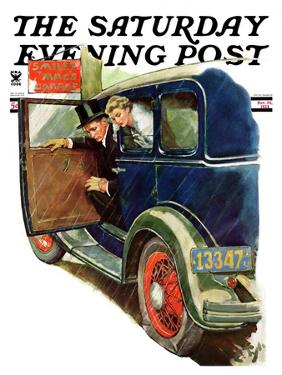 """Flat Tire, Flat Evening,"" Saturday Evening Post Cover, November 24, 1934 by Ellen Pyle"