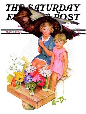 """""""Flower Children,"""" Saturday Evening Post Cover, May 5, 1934 by Ellen Pyle"""