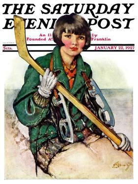"""""""Girl Hockey Player,"""" Saturday Evening Post Cover, January 22, 1927 by Ellen Pyle"""