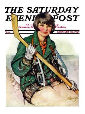 """Girl Hockey Player,"" Saturday Evening Post Cover, January 22, 1927 by Ellen Pyle"