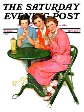 """""""Girls Sipping Sodas,"""" Saturday Evening Post Cover, September 21, 1935 by Ellen Pyle"""