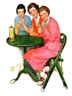 """Girls Sipping Sodas,""September 21, 1935 by Ellen Pyle"
