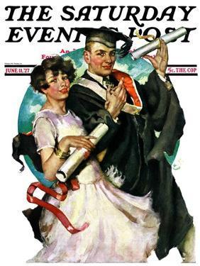 """Graduating Couple,"" Saturday Evening Post Cover, June 11, 1927 by Ellen Pyle"