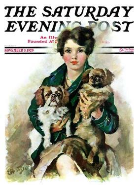 """""""Pugs in Lap,"""" Saturday Evening Post Cover, November 9, 1929 by Ellen Pyle"""