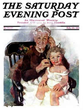 """""""Radio Days,"""" Saturday Evening Post Cover, February 22, 1930 by Ellen Pyle"""