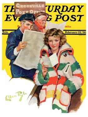 """""""Reading Her Mail,"""" Saturday Evening Post Cover, February 22, 1936 by Ellen Pyle"""