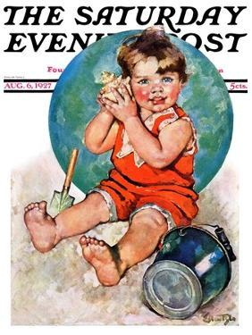 """""""Sea in the Shell,"""" Saturday Evening Post Cover, August 6, 1927 by Ellen Pyle"""
