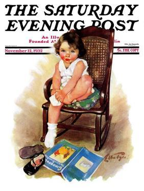 """Toddler in Rocker,"" Saturday Evening Post Cover, November 12, 1932 by Ellen Pyle"