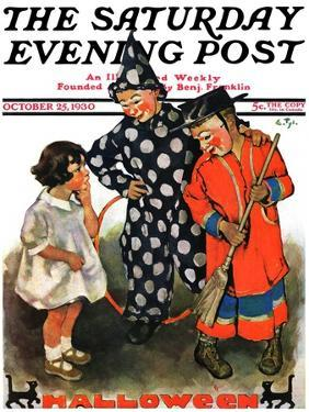 """""""Trick-Or-Treat,"""" Saturday Evening Post Cover, October 25, 1930 by Ellen Pyle"""