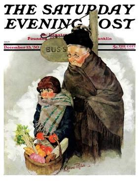 """""""Waiting for the Bus,"""" Saturday Evening Post Cover, December 13, 1930 by Ellen Pyle"""