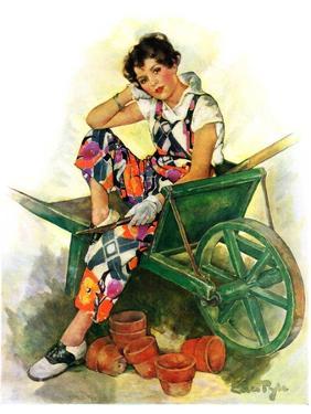 """""""Woman in Wheelbarrow,""""June 20, 1931 by Ellen Pyle"""