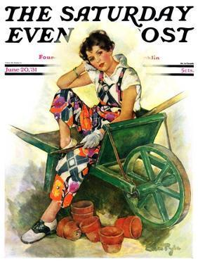 """Woman in Wheelbarrow,"" Saturday Evening Post Cover, June 20, 1931 by Ellen Pyle"